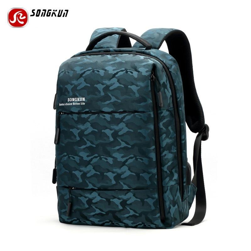 Songkun Brand Canvas Men Backpack   15.6 Inch Laptop Notebook Pocket Mochila Women Waterproof Backpack  USB Charge  backpack  <br>