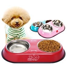 Double 12CM Stainless Steel Bowl For Dog Cat Small Pet Food Water Feeder Feeding Puppy Drinking Dish 34.5*19*4.5cm 3 Colors