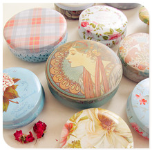 Retro frosted round tin box cosmetics jewelry storage can creative birthday gift storage box girl bedroom storage tank