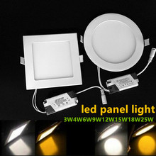 Ultra thin LED downlight Panel lights 3W 4W 6W 9W 12W 15W 18W Round/Square Recessed ceiling Lamp 110V 220V LED Driver Include