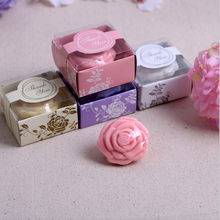 40 X Pink Purple White Yellow Wedding Giveaway Flower Soap Savon Wedding Favors Soap Wedding Souvenirs Return Presents Gifts(China)
