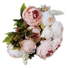 Hot 1Bouquet 8 Heads Artificial Peony Silk Flower Leaf Home Wedding Party Decor Light pink