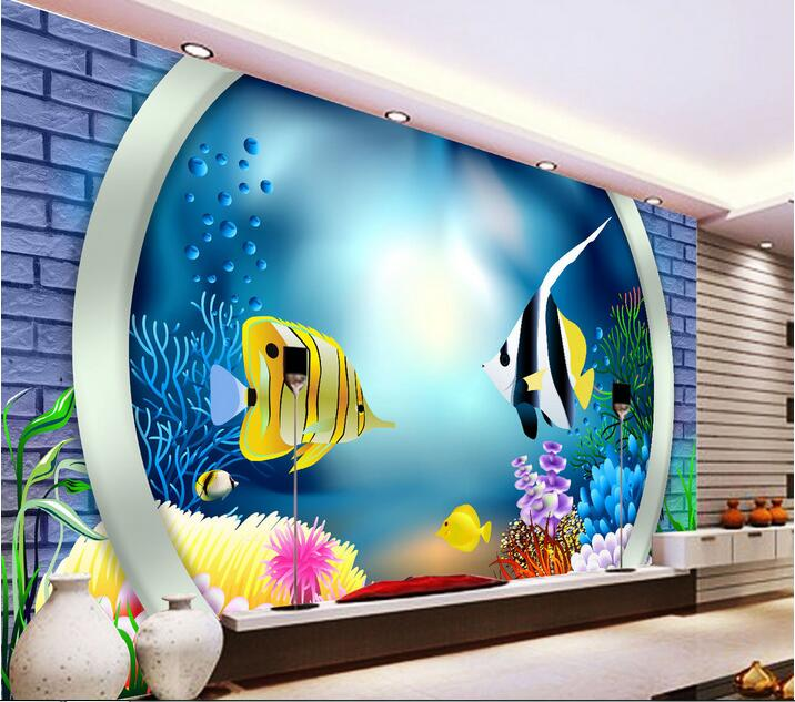 Custom photo 3d wallpaper Non-woven mural picture wall sticker 3 d bottom of the sea fish painting 3d room murals wallpaper<br>