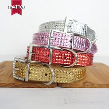 100 pcs/lot wholesale modern high quality dog accessories dog fashion PU checked dog collar with square buckle 3 sizes CS043P(China)
