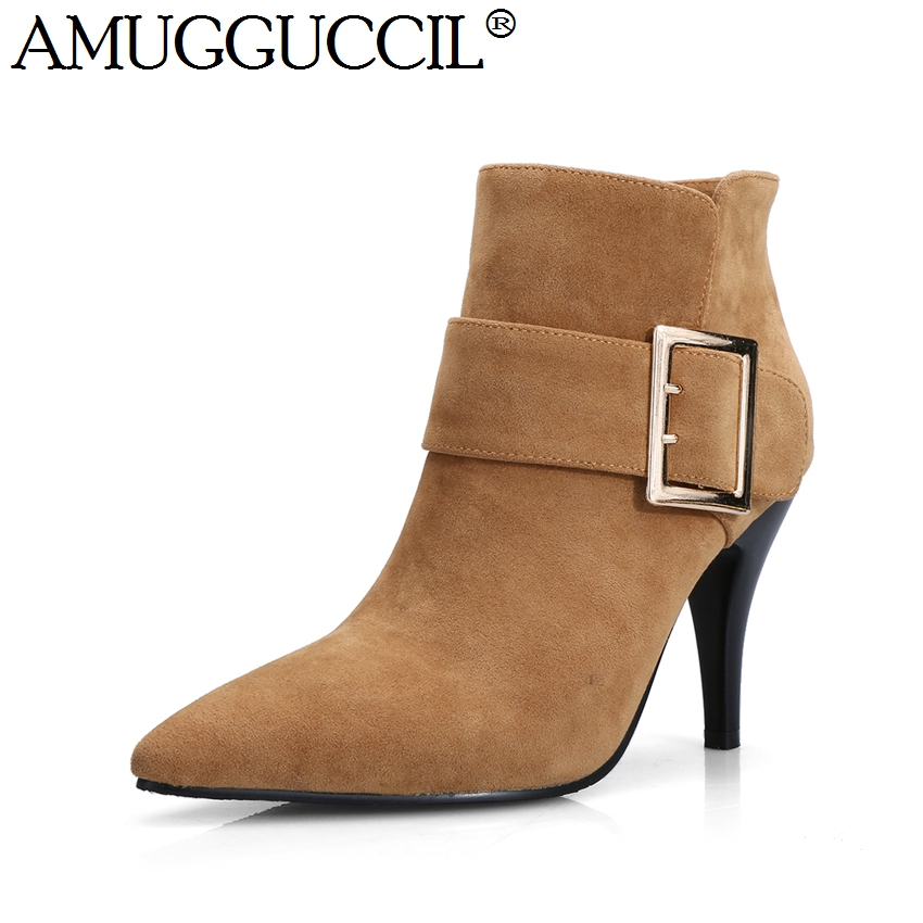 2017 New Arrival Plus Big Size 32-44 Black Brown Beige Buckle Fashion Sexy High Heel Autumn Spring Girl Ankle Women Boots X1525<br><br>Aliexpress