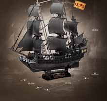 3D DIY paper model kits toy child puzzle toys  the Queen Anne's revenge Black Pearl Pirates of Caribbean boat ship model kit