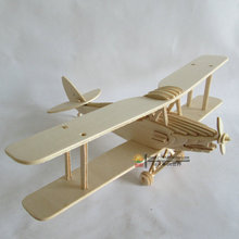 Kids toys 3D plane model wooden puzzles handmade Tiger moth flight airplane toy(China)