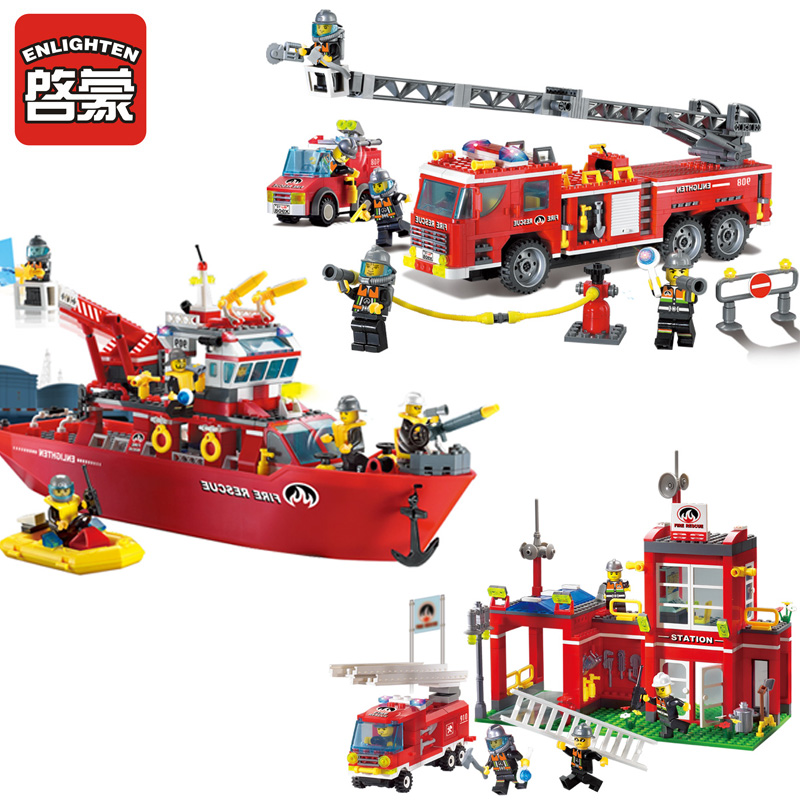 2017 Enlighten Multifunction Fire Boat Bricks Toy 909 DIY Assemble Model Building Block Toys For Children 908 909 910<br><br>Aliexpress