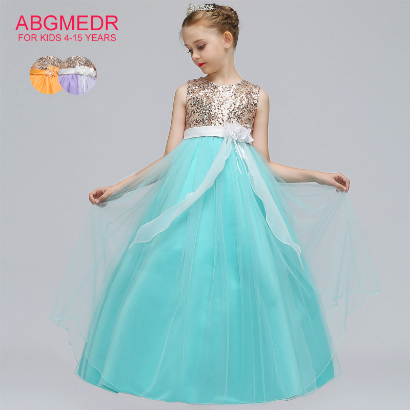 ABGMEDR Teenage Girls Dresses Kids Prom Gown Dress Flower Dress for Wedding and Party Clothing Children Sequin Ribbons Clothes<br>