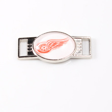 Detroit Red Wings NHL Hockey Team Logo Oval Shoelace Charms For Sport Shoes And Paracord Bracelets Jewelry Decoration 6pcs