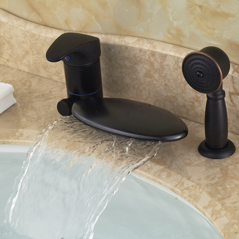 Newly Deck Mount 3pcs Waterfall Bathroom Tub Mixer Faucet Single Handle 3 Holes with Handshower<br><br>Aliexpress