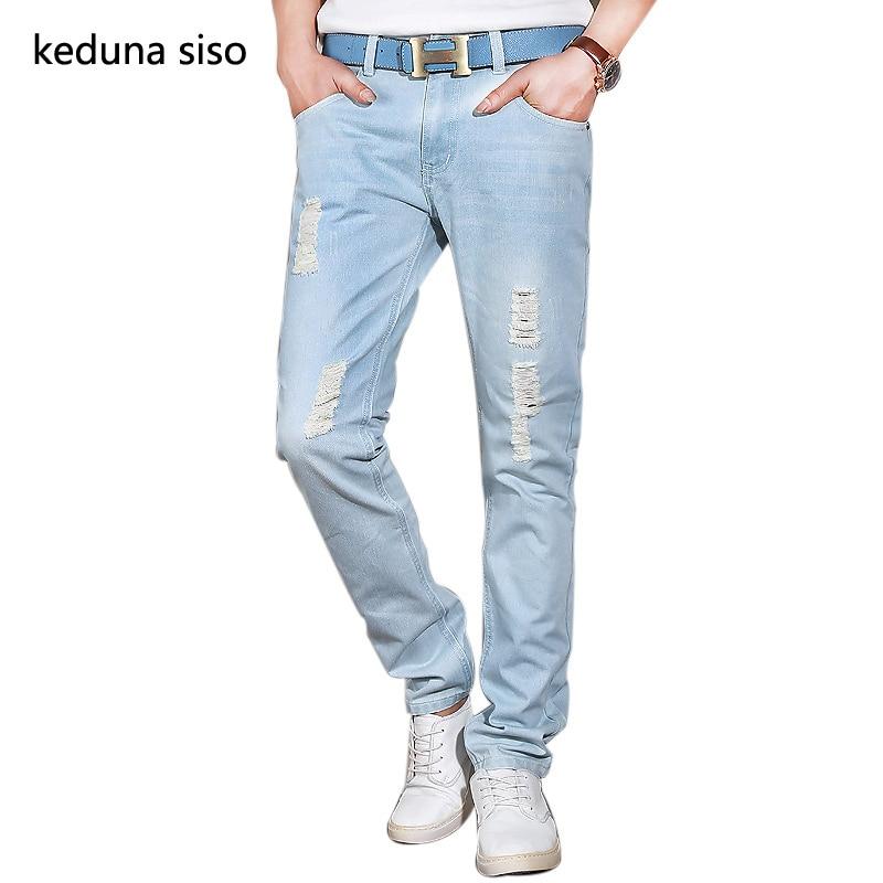 Hot Sale 2016 New Arrival Fashion Casual Slim Straight Designer Denim Hole Jeans Men Retail &amp; Wholesale Ripped Jeans For Men Одежда и ак�е��уары<br><br><br>Aliexpress