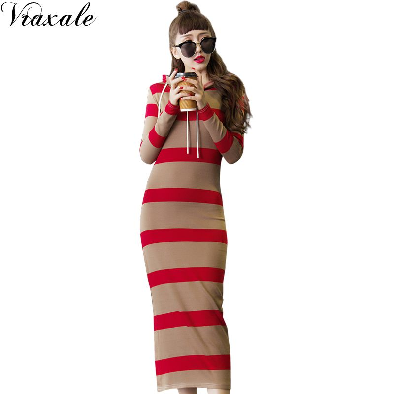 Spring knitted one-piece dress long-sleeve stripe sweatshirt female placketing slim hip slim full dress female Îäåæäà è àêñåññóàðû<br><br>