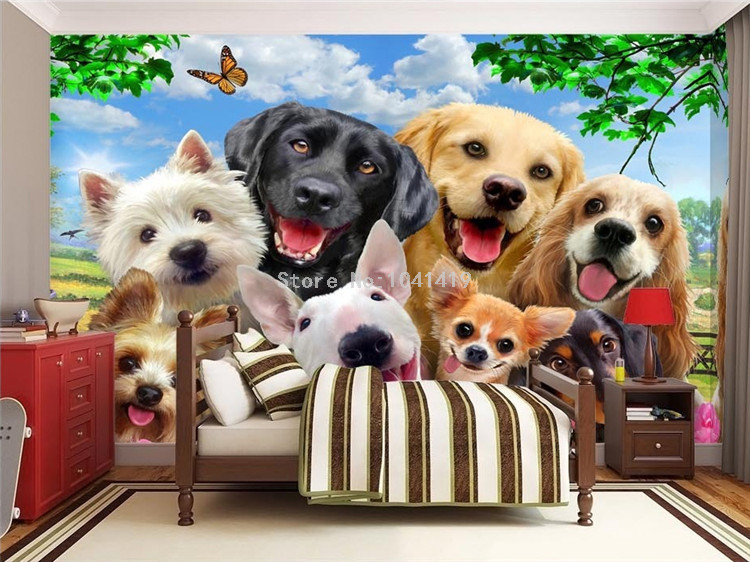 HTB1jgP SFXXXXaaaXXXq6xXFXXXR - 3D Wallpaper Cute Cartoon Lawn Dog Animal Photo Wall Murals Children Kids Bedroom Backdrop Wall Home Decor Papier Peint Enfant
