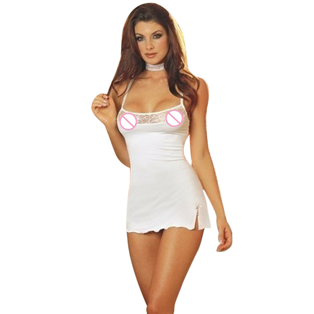 Sexy Lingerie Dress 2018 Women lenceria White Lace Dresses Sleepwear Erotic Lingerie Babydoll Underwear Mini Dress Sex Costumes(China)