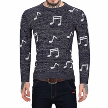 Casual mens knitted sweaters pullover sweater for men turtleneck Autumn Musical Notes Pattern male christmas winter knitwear(China)