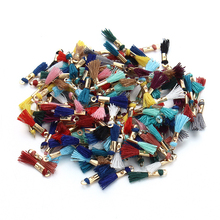 Fashion 100pcs/lot Mix Colors Cotton Tassel For Keychain Cellphone 16mm Silk Tassels Charms Fit Earring With Color Caps F3516