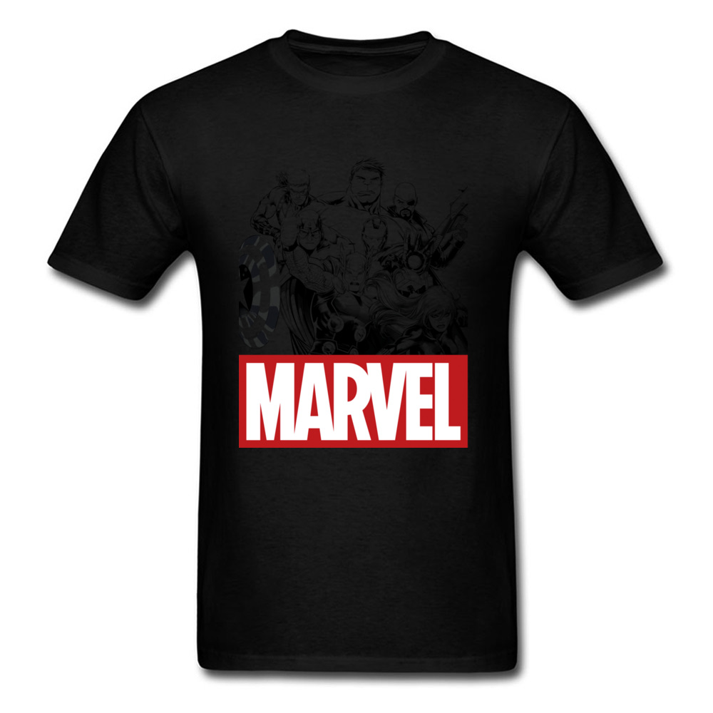Newest Male Top T-shirts Crew Neck Short Sleeve 100% Cotton Star Wars Marvel Heroes Logo Tops & Tees Print Tops & Tees Marvel Heroes Logo black