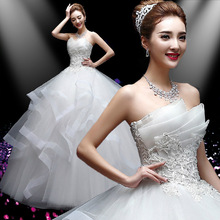 Real Photo vestido de noiva de 2017 Sweetang Koreal Style  Romantic Lace White Princess bridal Wedding Dress Lace Up Ball Gown