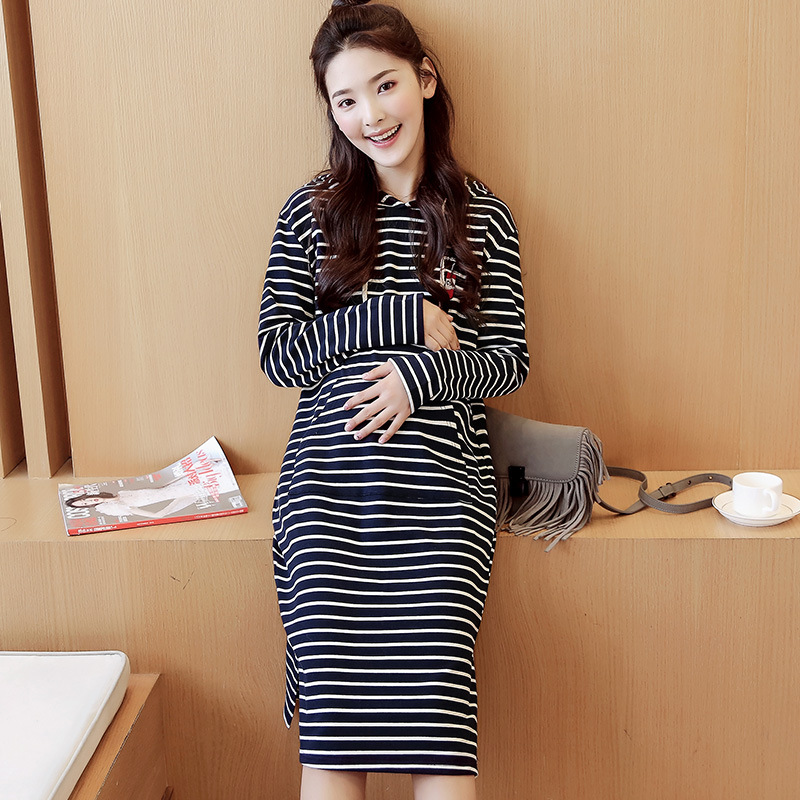 Hot New Maternity Dress Hooded Long Dresses Striped Pregnant Women Spring Autumn Cotton Hoodie Dress For Pregnancy Women Clothes<br>