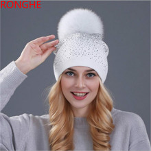 RongHe Autumn Winter Beanies Womens Hat Knitted Wool Skullies With Rhinestone Casual Cap Fox Fur Pompom Ski Gorros Skullies Cap