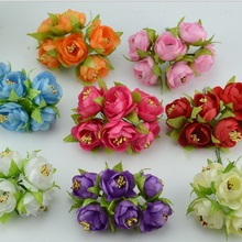 6pcs/lot 3cm Mini Silk Artificial Rose Flowers Bouquet Wedding Decoration Flower For DIY Scrapbooking Flower Ball Cheap Flores