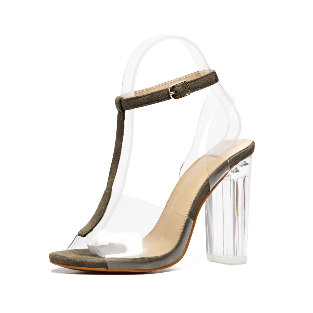 Women gladiator sandals ladies pumps high heels shoes woman Crystal Clear Transparent pvc T-strap party wedding thick shoes<br><br>Aliexpress
