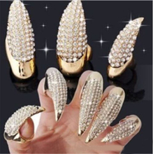1PC Crystal Finger Nail Ring Fashion Punk Style Claw Paw Talon Finger Thumb Rings Gold Color