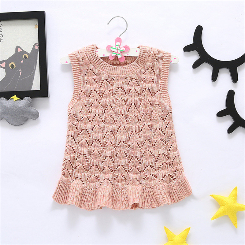 1 to 5T Baby Girls Dress Knitted Cotton Hollow Vest Dresses 2017 Kids Children Clothes Fashion Wavy Hem Princess Party Clothes<br><br>Aliexpress