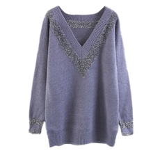 European style deep V collar sweater silver thin long sleeve knit sweater loose backing thin turtleneck sweaters