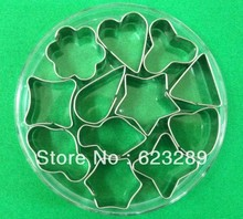 Free Shipping 12Pcs/set Twelve kinds of graphics Shape Mould Fondant Cookie Biscuit Cake Mold Cutter+Box
