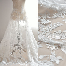 1 Meters Luxurious Ivory Embroidery Lace Fabric Countryside Grenadine Accessories High-grade DIY Wedding Dress Skirt  Net Yarn