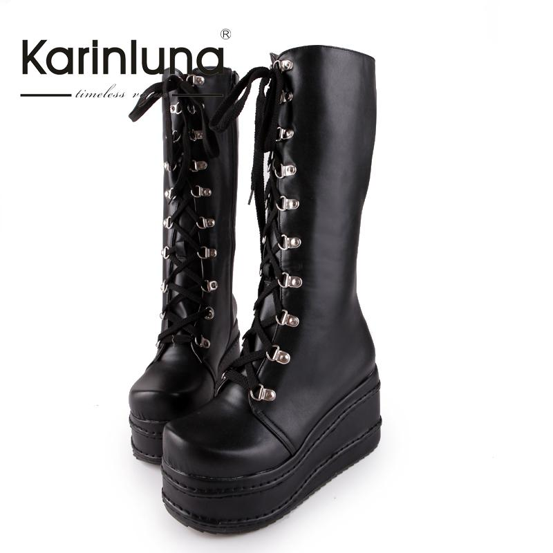 2017 big size 34-43 hot sale fashion punk woman shoes cosplay boots knee high heel platform sexy zip winter party wedges boots<br><br>Aliexpress