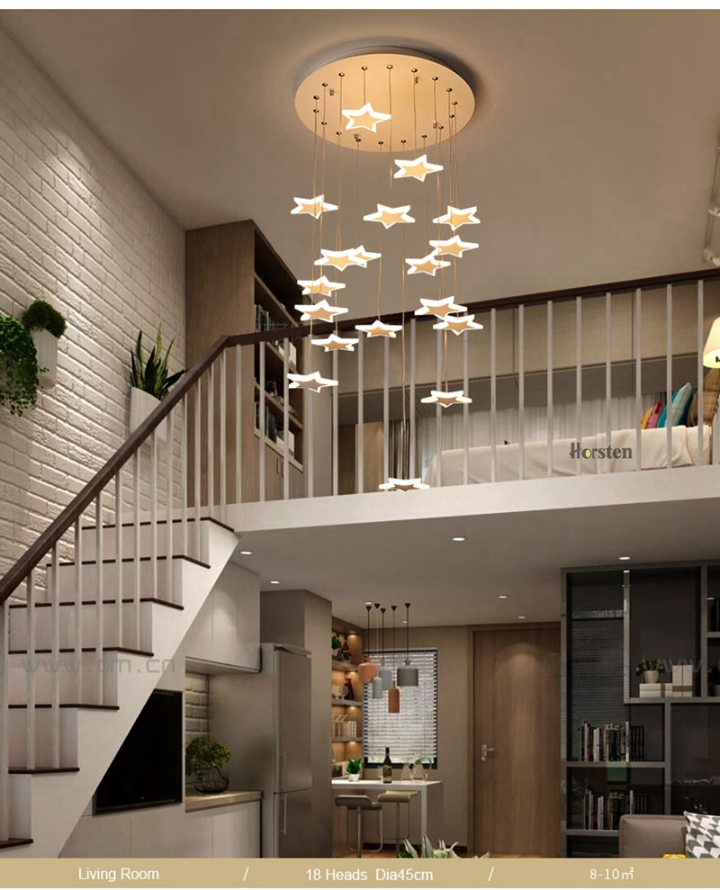 Modern Duplex Staircase LED Pendant Lights Personality 18 Stars Hanging Lamps Minimalist Rotaion Staircase Lamp Living Room Lighting (8)