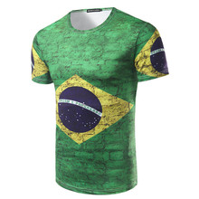 HOT World Cup t-shirt Fashion Brazil Flag Printed 3D T Shirt Casual Male Top Tees Men's O-neck Short Sleeve t shirts(China)