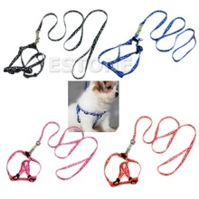 Small Dog Pet Puppy Cat Adjustable Nylon Harness with Lead leash 5 Colors-F1FB