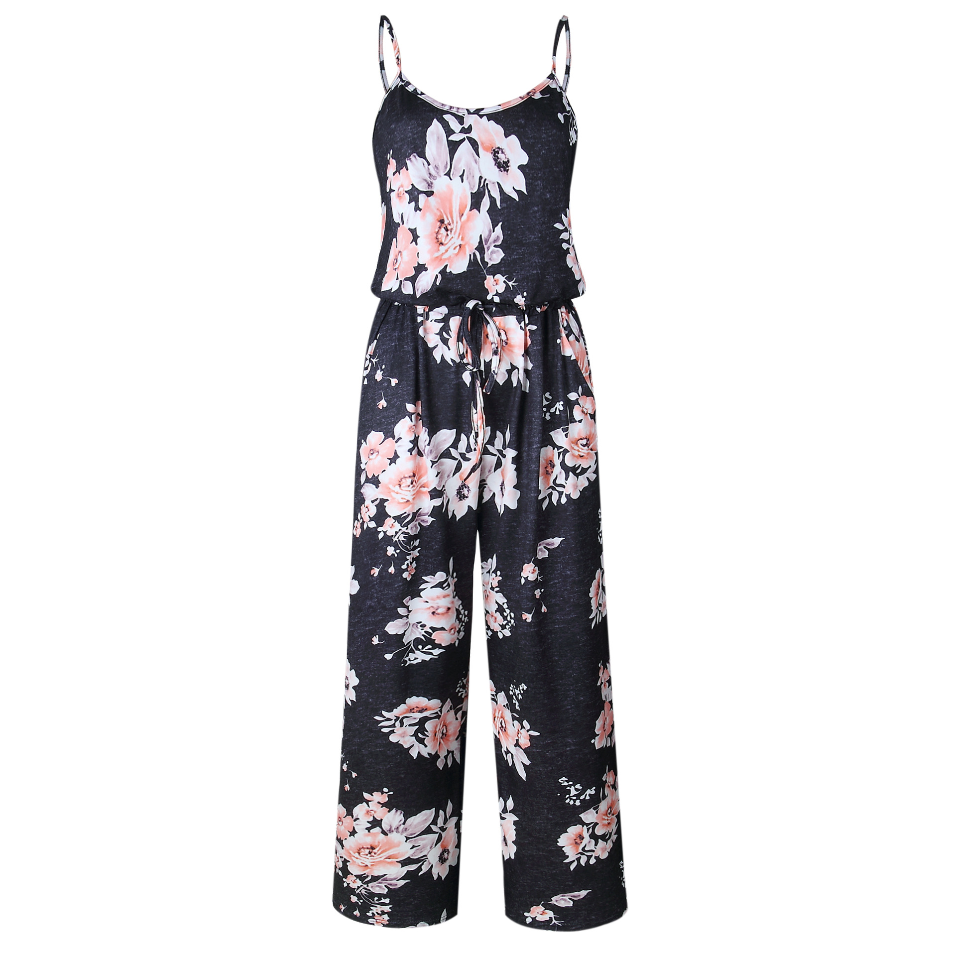 Spaghetti Strap Jumpsuit Women 2018 Summer Long Pants Floral Print Rompers Beach Casual Jumpsuits Sleeveless Sashes Playsuits 44