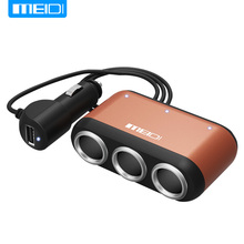 MEIDI With three Switch Cigarette Lighter Car Charger Car Power Distributor USB Plug Car Charging One Drag Three Car Charger(China)