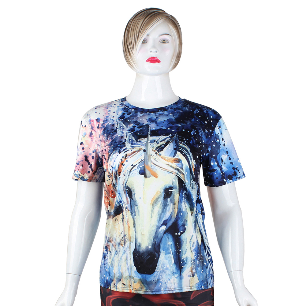 FCCEXIO 2018 New Summer T Shirt Women Animal Horse 3D Print Oil Color Tshirt Hiphop Lnk Splash T-Shirt Harajuku Crop Top 24