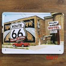 Route 66 motel Home Decor Pub Tavern Garage Tin Sheet Metal Sign Vintage Picture 20*30cm