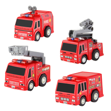 4 Pieces Pull Back Car Fun Mini model Police Fire Truck Alloy Material for children Gift Christmas DODOELEPHANT(China)