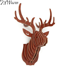 3D Wood Puzzle Animal Wildlife Head Sculpture Wooden Antlers Model Figurines Ornament Wall Hanging Home Decoration DIY Gifts