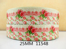 10Y11548 kerryribbon freeshipping 1'' flowers printed Grosgrain ribbon Clothing accessories Bow Material Gift Wrapping