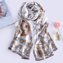 Belladicci Femme Silk Scarf Shawl Spring Autumn Female Lencos Long Pure 100% Silk Scarf Women Oil Paint Shawls Beach Cover-Ups(China)