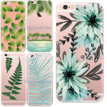 Charming Featured Coconut Flower Elegant Leather Pattern Phone Case for Apple iPhone 5 5s 6 6s 7 Plus Soft TPU Silicon Covers