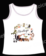 Track Ship+Vintage Retro Vest Tanks Camis Cartoon Dachshund Dog Get Scarf from Bird Fresh Flower 0888