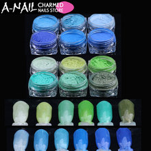 12 jars/set Blue Green Retro colors Gradient Nail Glitter Pigment Powders Pretty Shimmer Powder Nail Powder Dust Decoration(China)