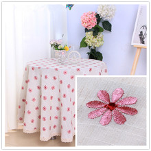 JUYANG quality round lace tablecloth / cotton and linen embroidery tablecloth. Pastoral style. 4 sizes.