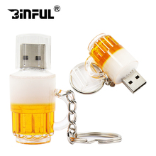 Promotion price mini pen drive beer cup usb flash drive pendrive 4gb 8gb 16gb 32gb 64gb beer cartoon 100% real capacity U disk(China)