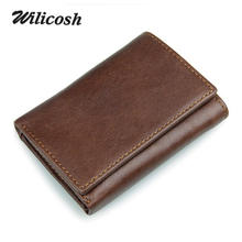 Wilicosh New RFID BLOCKING Men Wallet Vintage Genuine Cow Leather Trifold Purse Card Holder RFID Protection Wallets men WL495